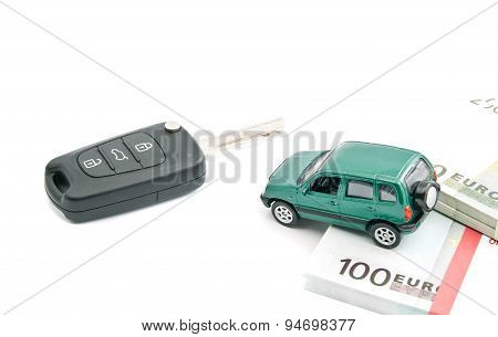 Green Car, Euro Notes And Car Keys
