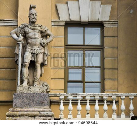 Sculpture Of Knight With Balcony Next To The Building
