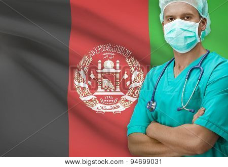 Surgeon With Flag On Background Series - Afghanistan