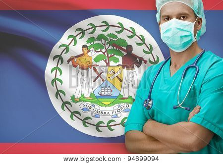Surgeon With Flag On Background Series - Belize