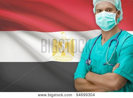Surgeon With Flag On Background Series - Egypt