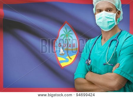 Surgeon With Flag On Background Series - Guam