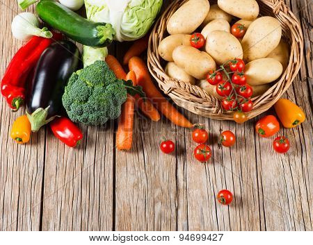 Group Of Raw Vegetables, View From Above