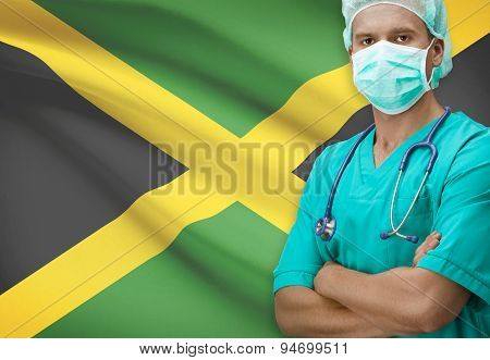 Surgeon With Flag On Background Series - Jamaica
