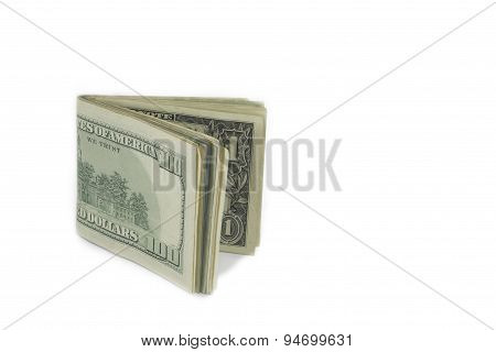 Wad Of American Dollar Banknotes Isolated
