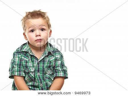 Adorable Little Boy Looking Sad.