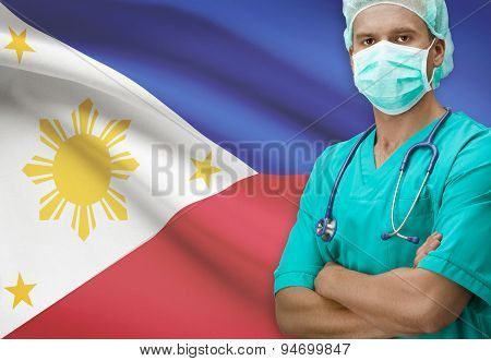 Surgeon With Flag On Background Series - Philippines