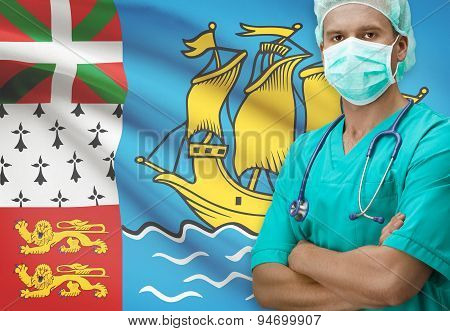 Surgeon With Flag On Background Series - Saint-pierre And Miquelon