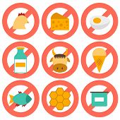 stock photo of poultry  - Set of modern flat icons with products containing animal protein and prohibited for vegans - JPG