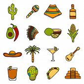 stock photo of sombrero  - Vector card with cute hand drawn objects on Mexico theme - JPG