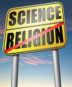 stock photo of darwin  - science religion relationship between belief faith and reality evidence and proof evolution or creationism road sign arrow  - JPG