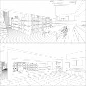 pic of interior sketch  - Vector illustration of an outline sketch of a interior - JPG