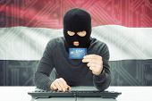 picture of cybercrime  - Cybercrime concept with flag on background  - JPG