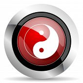 stock photo of ying yang  - ying yang red glossy web icon original modern design for web and mobile app on white background  - JPG
