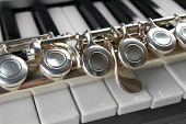 foto of flute  - Flute and piano close up - JPG