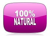 stock photo of 100 percent  - natural violet icon 100 percent natural sign original modern design for web and mobile app on white background with reflection  - JPG