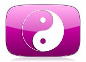 stock photo of ying yang  - ying yang violet icon   - JPG