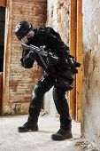 Постер, плакат: Military industry Special forces or anti terrorist police soldier private military contractor arm