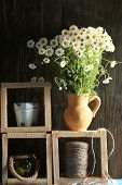 image of pitcher  - Beautiful bouquet of daisies in pitcher with twine on wooden background - JPG