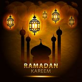 image of ramadan calligraphy  - traditional lantern of Ramadan - JPG