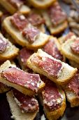 foto of french toast  - Close up of French sausage on toasts - JPG