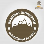 Vintage logo, emblem, label, print or logotype elements with mountains poster