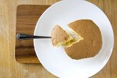 pic of sponge-cake  - piece of sponge cake serve on wooden board - JPG