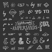 picture of ampersand  - Set of hand drawn ampersands isolated on chalkboard background - JPG