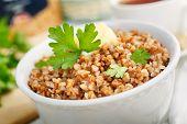 image of buckwheat  - Buckwheat porridge with butter and parsley - JPG