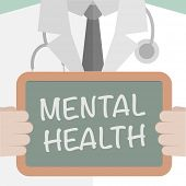 stock photo of mental_health  - minimalistic illustration of a doctor holding a blackboard with Mental Health text - JPG