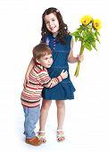 stock photo of little sister  - Little brother hugging his sister  - JPG