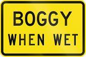 pic of boggy  - An Australian warning traffic sign  - JPG