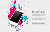 image of color spot black white  - A white mobile phone on white background with colorful splatters - JPG