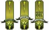 stock photo of virginity  - Collection of three labels with ribbon green olives and oil text Olive oil and Extra virgin - JPG