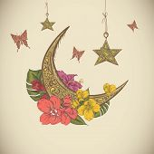 pic of moon-flower  - Traditional greeting card with arabic lantern and flowers - JPG