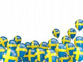 pic of sweden flag  - Flying balloons with flag of sweden isolated on white - JPG
