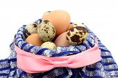 picture of quail egg  - Chicken and quail eggs in a basket - JPG