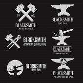 Set of logo, badge, label, emblem and logotype elements for blacksmith poster