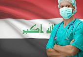 picture of iraq  - Surgeon with flag on background conceptual series  - JPG