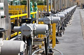 foto of inlet  - Row of inlets in sewage treatment plant - JPG