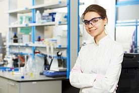 image of chemistry technician  - One female scientist researcher making research in chemistry laboratory - JPG