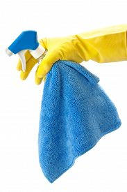 picture of detergent  - detergents for cleaning the house in a hand isolated on a white background - JPG
