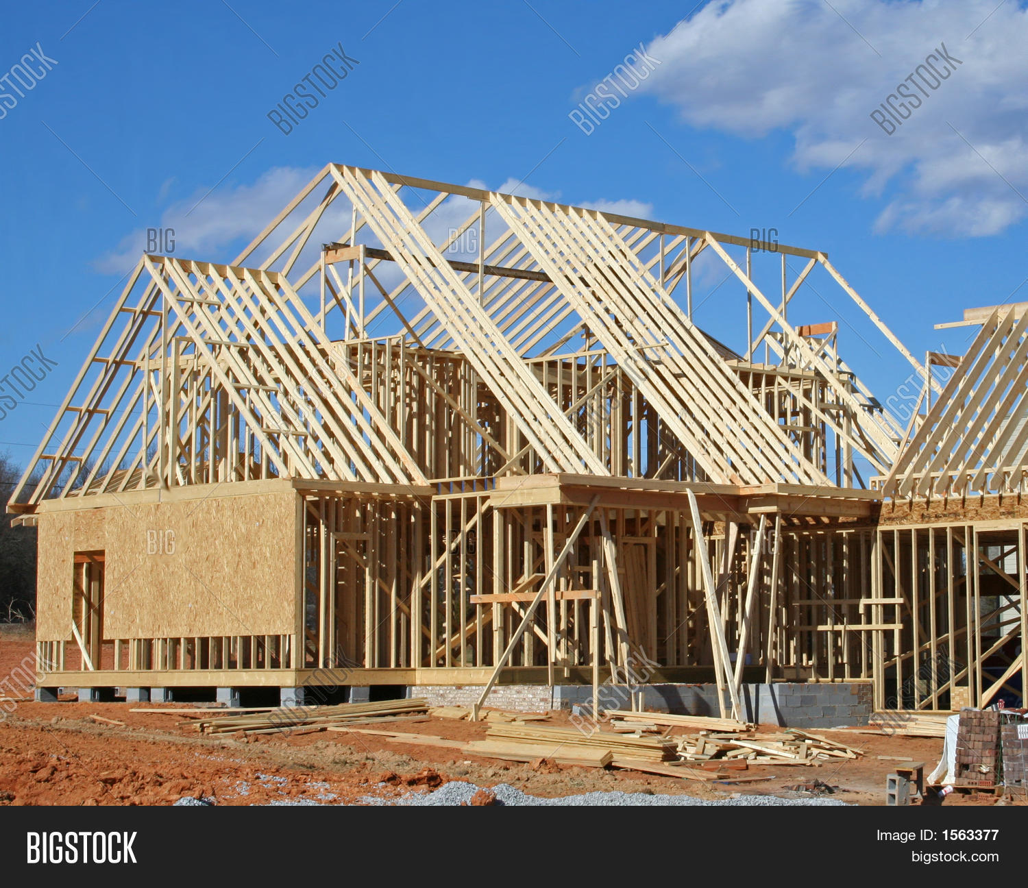 House construction framing stage stock photo stock for Stages in house construction