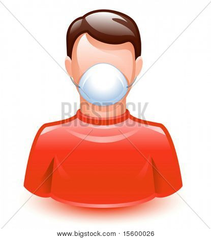 vector illustration of a man wearing a protection mask