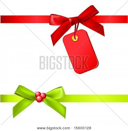 vector christmas ribbons with tag