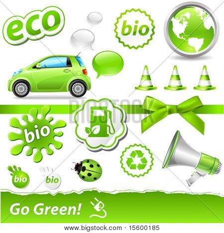 "vector ""go-green"" set with biofuel icons"