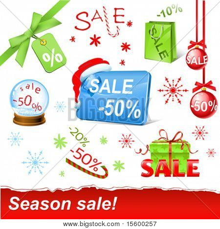 vector christmas sale set