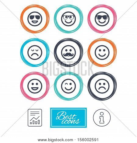 Smile icons. Happy, sad and wink faces signs. Sunglasses, mustache and laughing lol smiley symbols. Report document, information icons. Vector