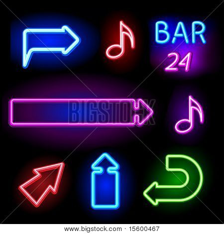 vector neon signs set