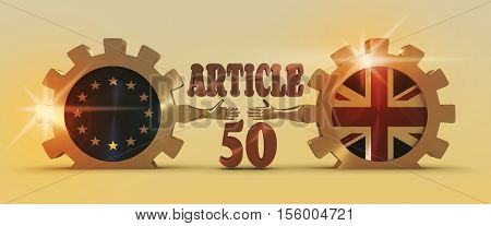 United Kingdom exit from Europe relative image. Brexit named politic process. National flags on golden cog wheels. 3D rendering. Handshake metaphor. Article 50 text